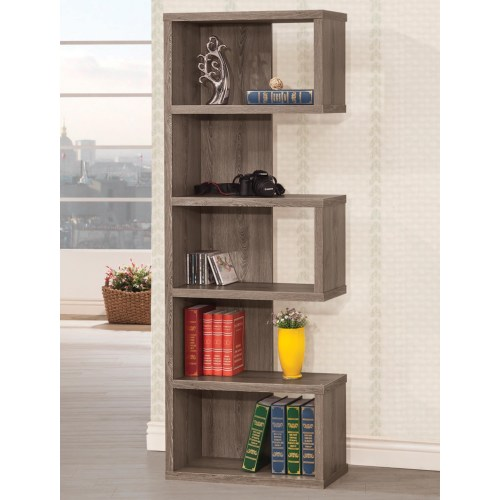Coaster Bookcases Weathered Grey Semi-Backless Bookcase