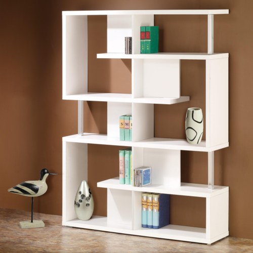 Coaster Bookcases Modern White Finish Bookcase