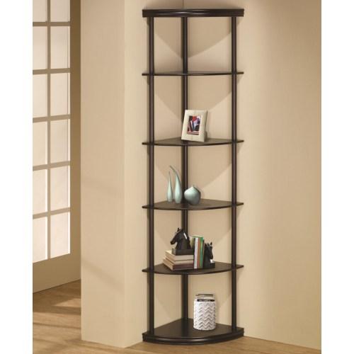 Coaster Bookcases Corner Bookshelf in Dark Finish