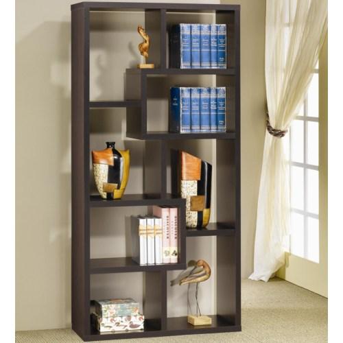 Coaster Bookcases Contemporary Asymmetrical Cube Bookcase, Cappucino