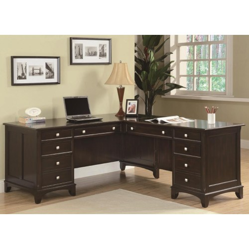 Coaster Garson L-Shaped Desk with 8 Drawers