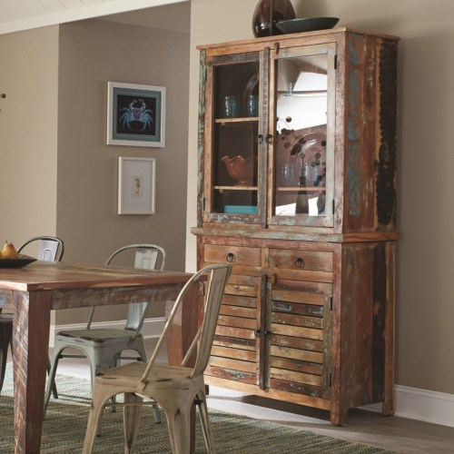 Coaster Keller Rustic China Cabinet with Louvered Doors