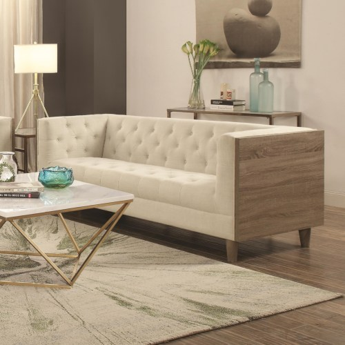 Coaster Fairbanks Tuxedo Sofa with Button Tufting and Weathered Wood