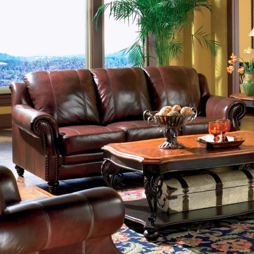 Coaster Princeton Rolled Arm Leather Sofa