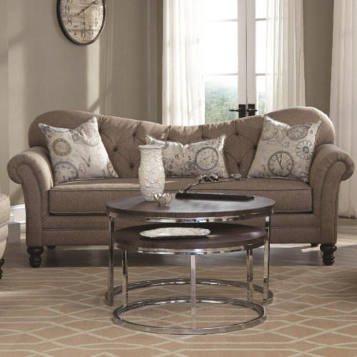 Coaster Carnahan Traditional Sofa with Tufted Reverse Camel Back