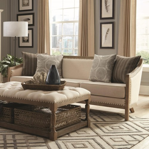 Coaster Hamilton Vintage Inspired Sofa with Nailhead Trim and Wood Frame