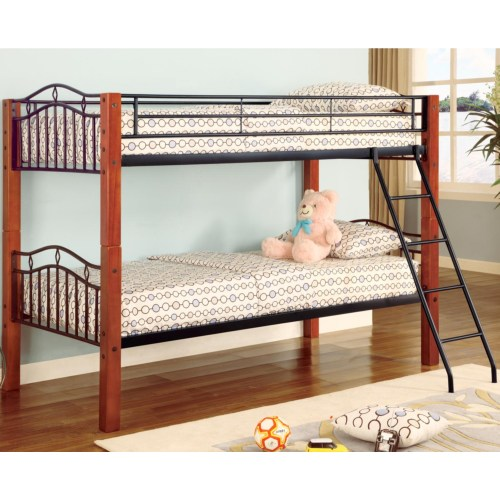 Coaster Haskell Metal and Wood Casual Twin over Twin Bunk Bed