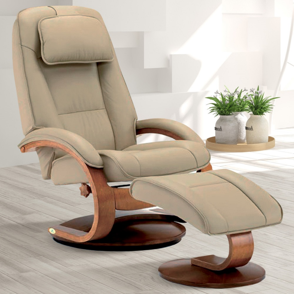MacMotion Oslo Collection by Mac Motion Bergen Recliner and Ottoman in Cobblestone Top Grain Leather