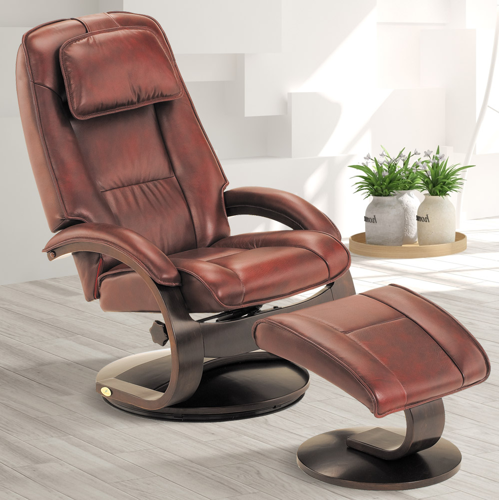 MacMotion Oslo Collection by Mac Motion Bergen Recliner and Ottoman in Merlot Top Grain Leather