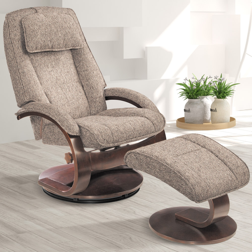 MacMotion Oslo Collection by Mac Motion Bergen Recliner and Ottoman in Teatro Graphite Fabric