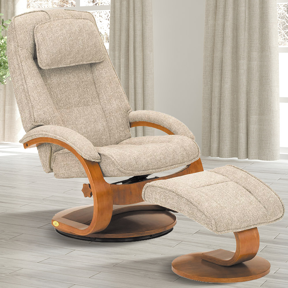 MacMotion Oslo Collection by Mac Motion Bergen Recliner and Ottoman in Teatro Linen Fabric