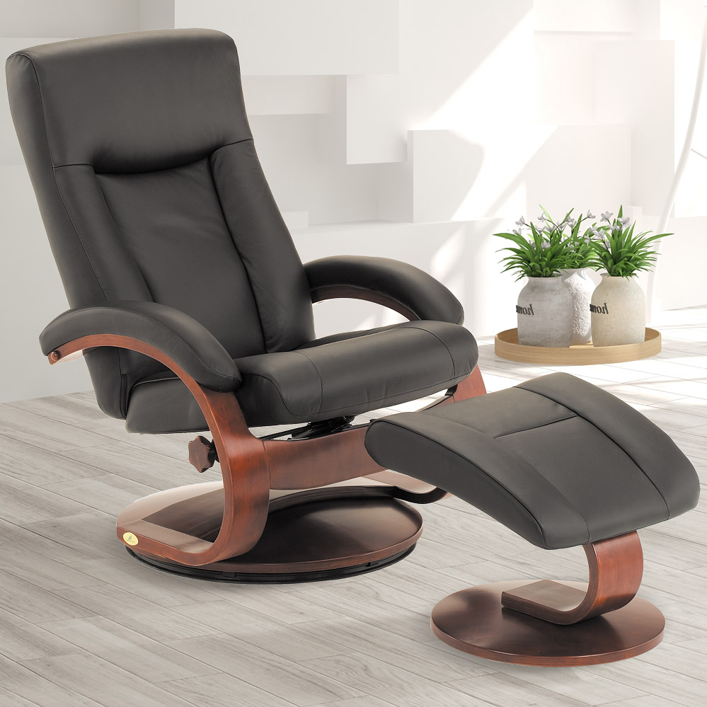 MacMotion Oslo Collection by Mac Motion Hamar Recliner and Ottoman in Black Top Grain Leather