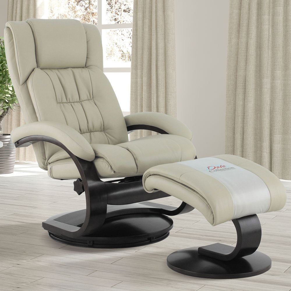 MacMotion Oslo Collection by Mac Motion Narvick Recliner and Ottoman in Beige Breathable Air Leather