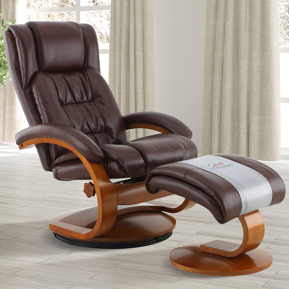 MacMotion Oslo Collection by Mac Motion Narvick Recliner and Ottoman in Whisky Breathable Air Leather