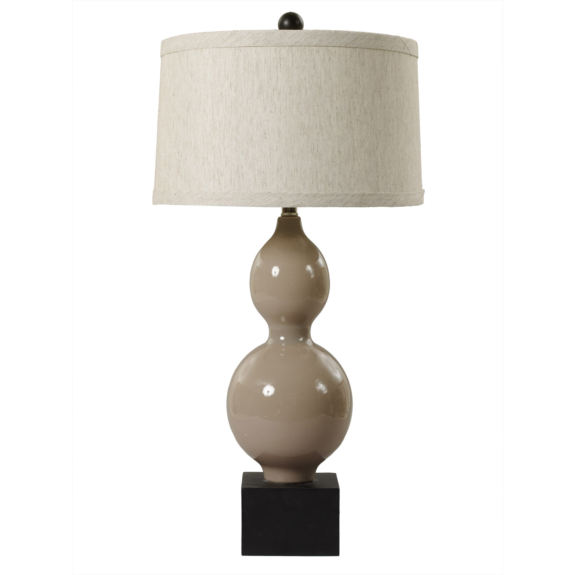 Fangio Lighting's #8735 30 in. Elongated Stacked Gourd With Pedestal Base Ceramic Table Lamp in a Warm Grey Finish