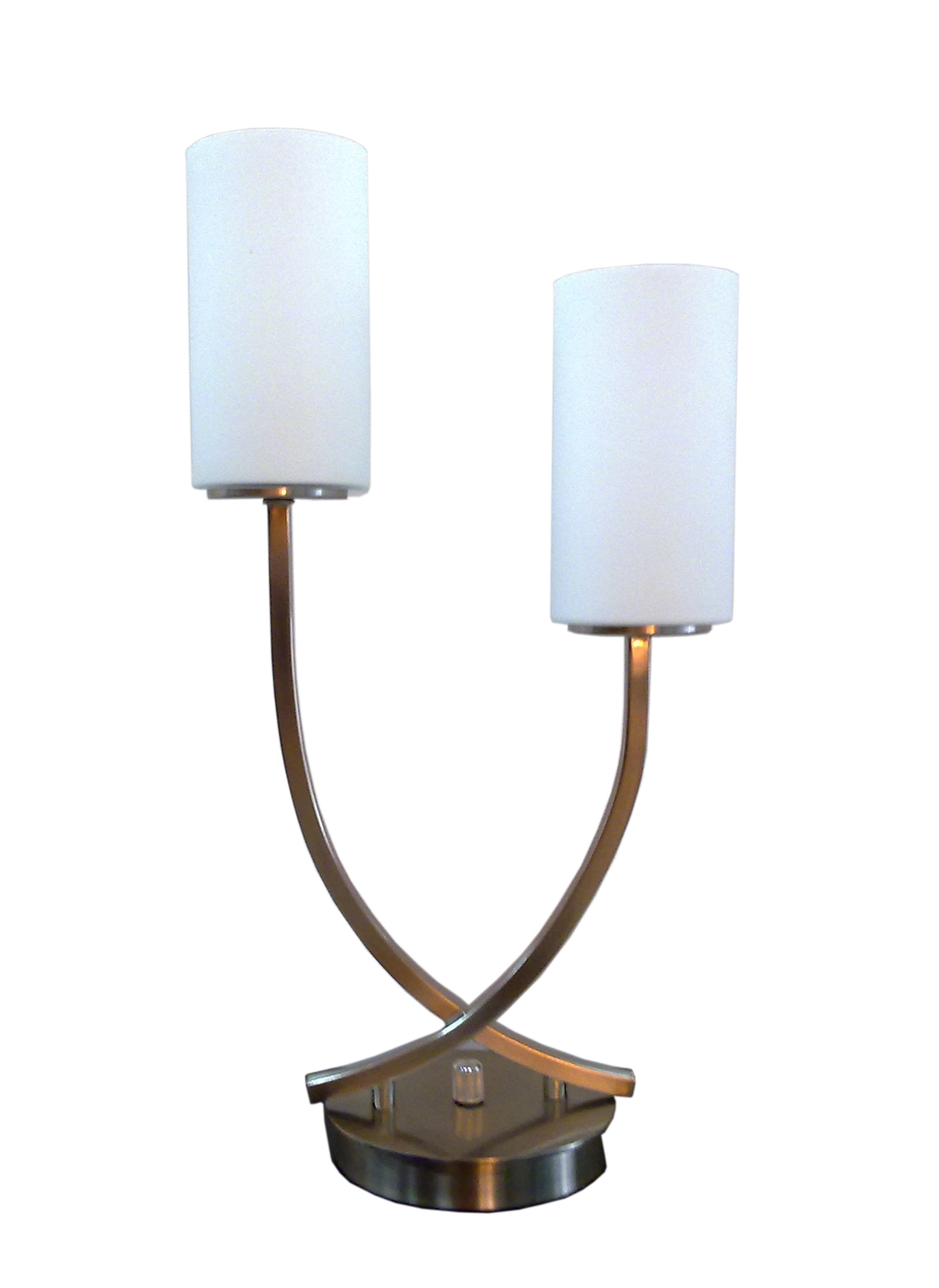 (1318) Brushed Nickel Steel & Glass 2-Light Table Lamp