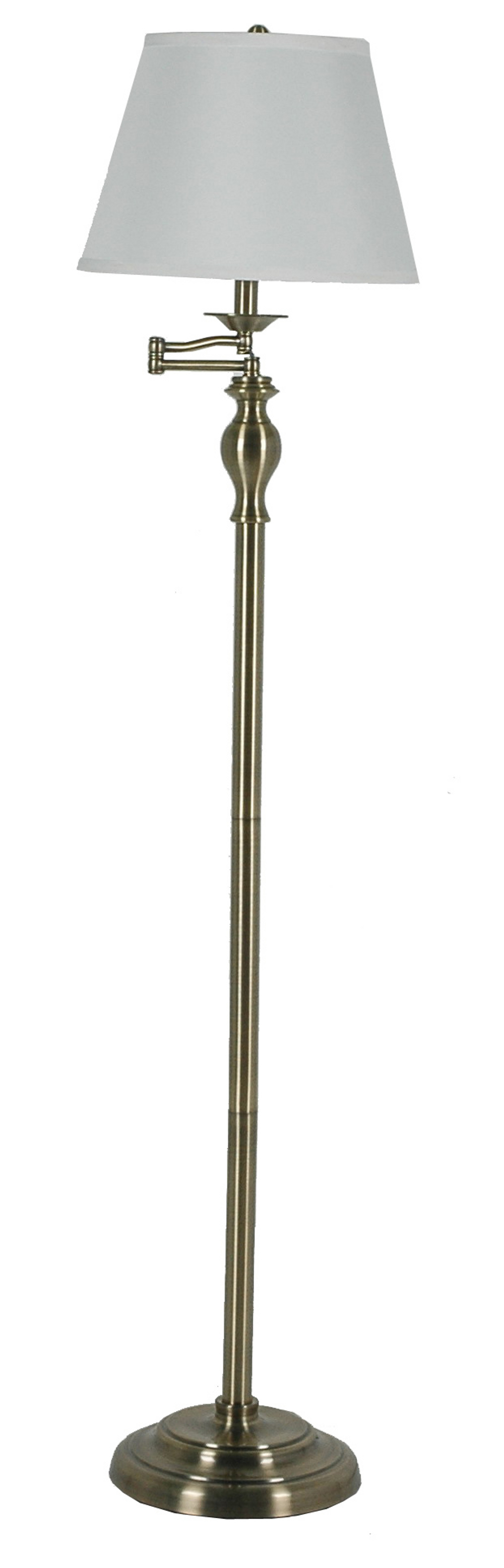 (1258) Metal Antique Brass Swing Arm Floor Lamp