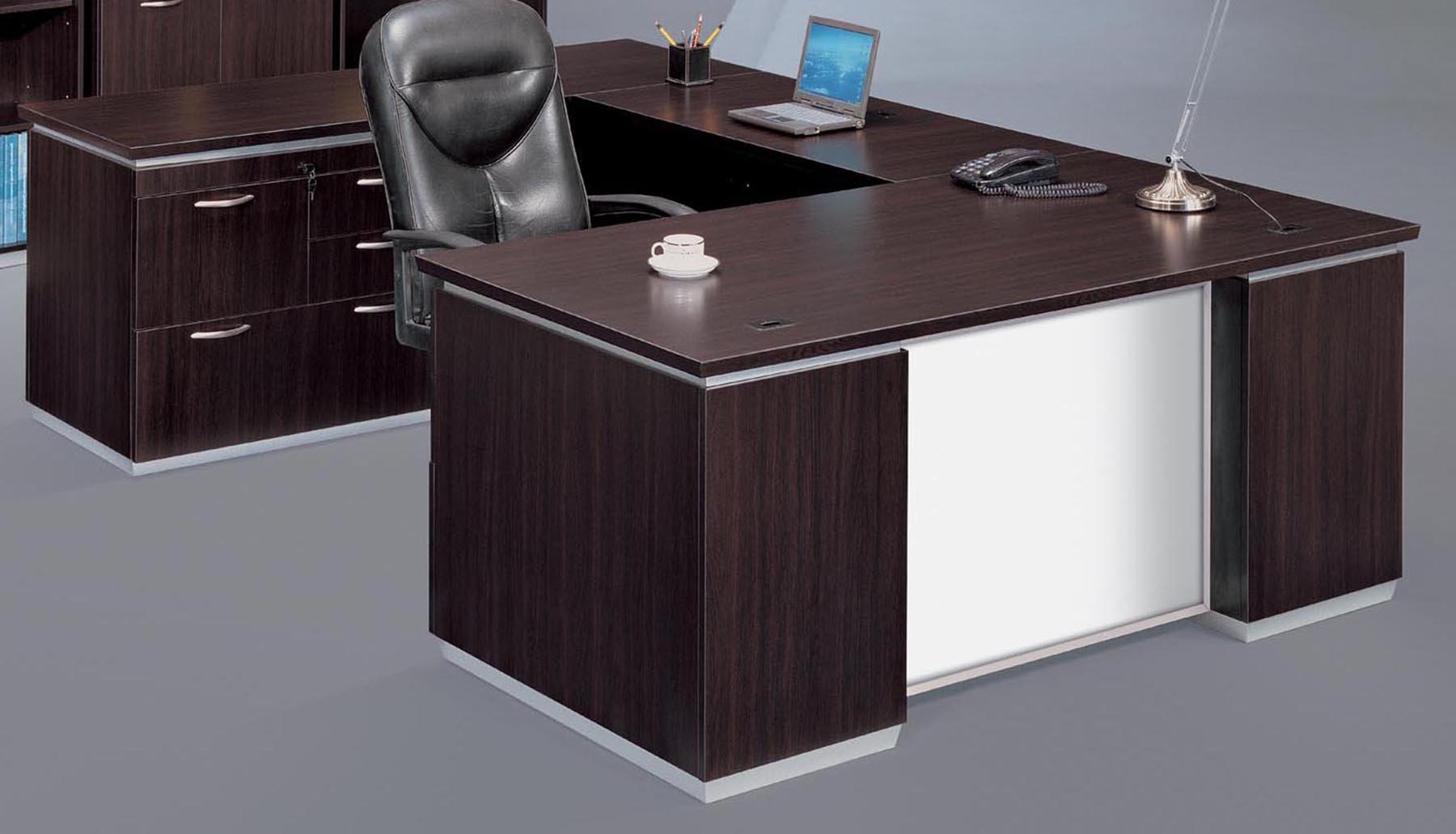 Flexsteel Pimlico  Left Personal File U Desk with White Glass Modesty Panel