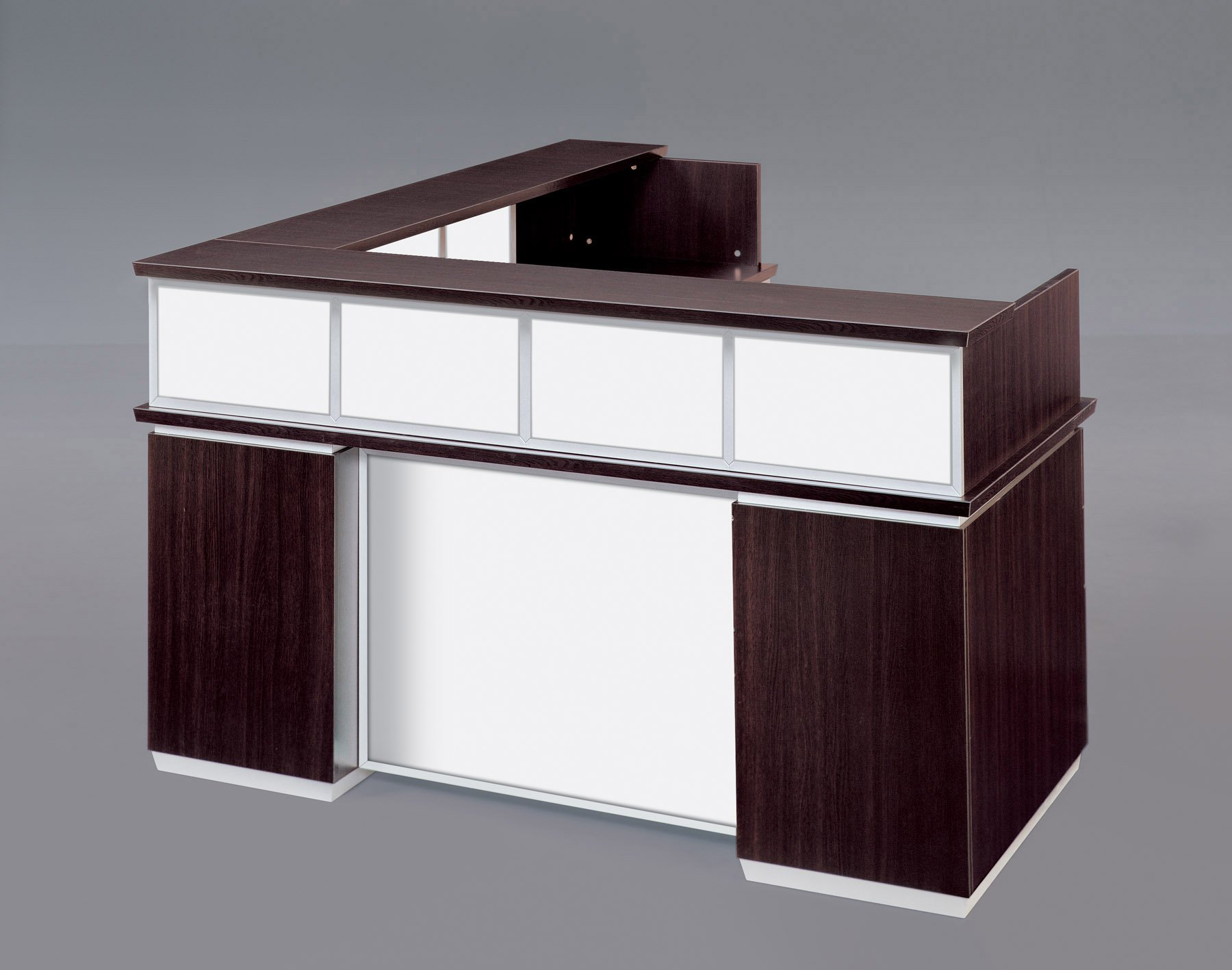 Flexsteel Pimlico  Right Reception L Desk with White Glass Modesty Panel