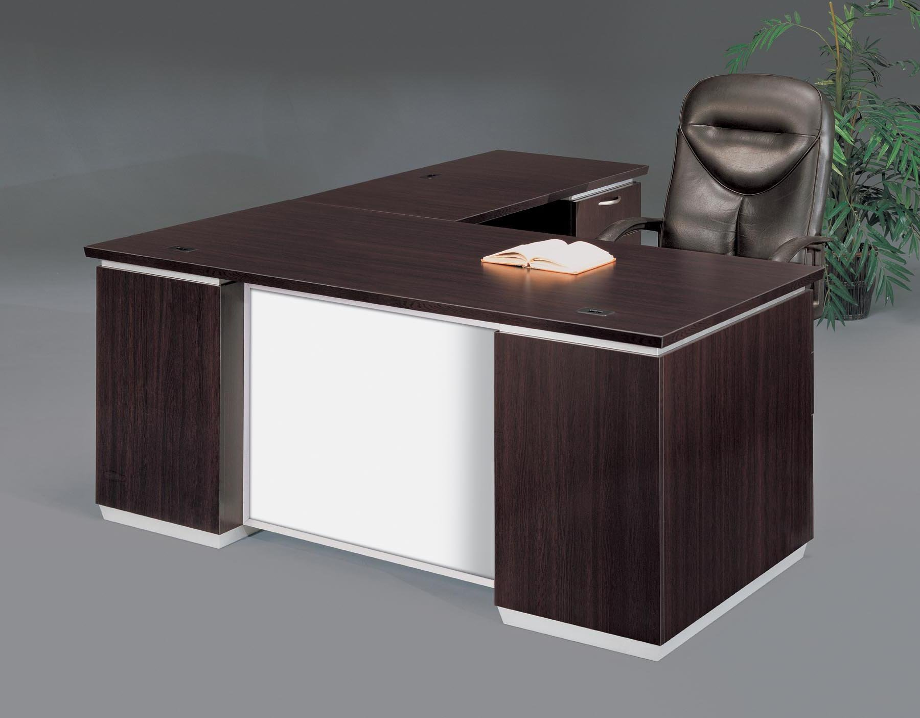 Flexsteel Pimlico  Right Executive L Desk with White Glass Modesty Panel