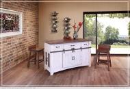 3 Drawer Kitchen Island w/2 sliding doors, 2 Mesh doors on each side_x000D_ 151 lb