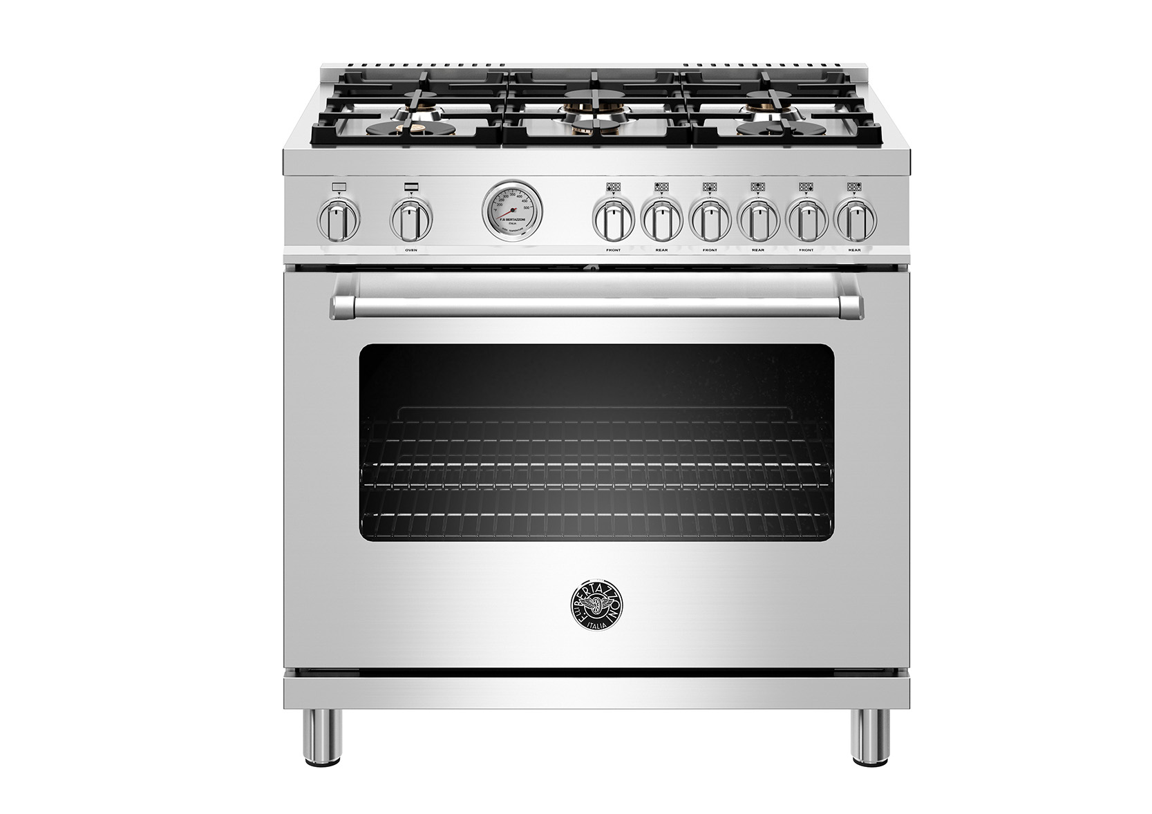 "Bertazzoni 36"" Master Series range - Gas oven - 6 brass burners"