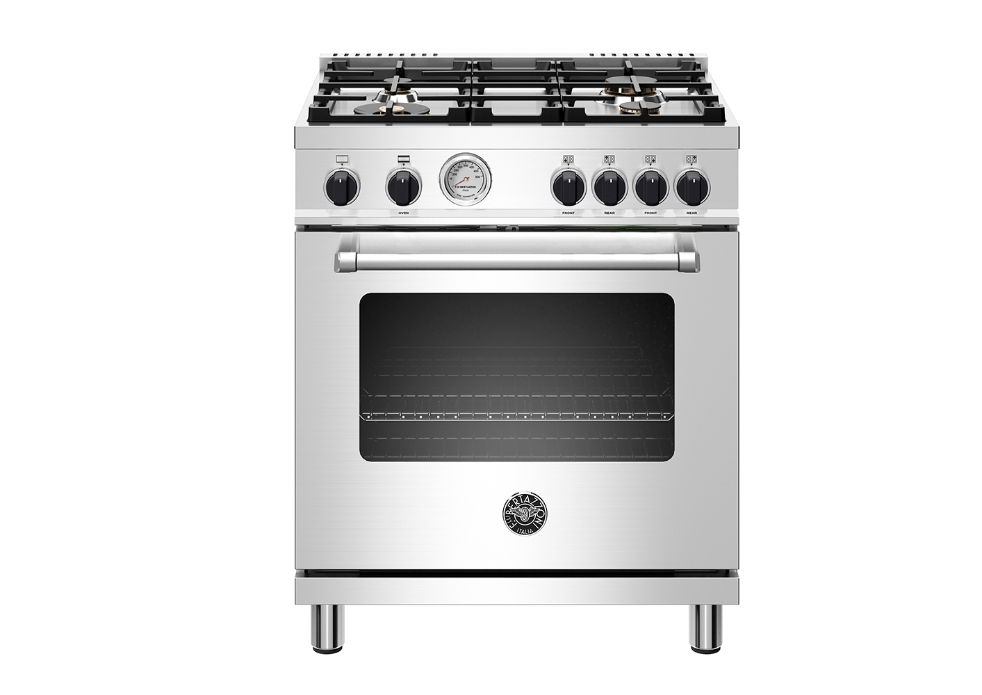 "Bertazzoni 30"" Master Series range - Gas oven - 4 aluminum burners - Black knobs"