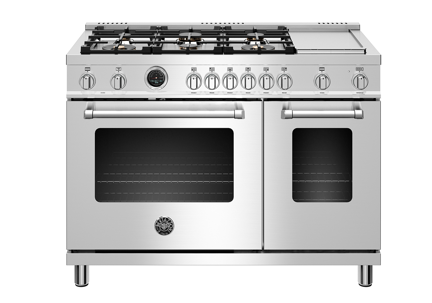 "Model: MAST486GDFSXT | Bertazzoni 48"" Master Series range - Electric self clean oven - 6 brass burners + griddle"