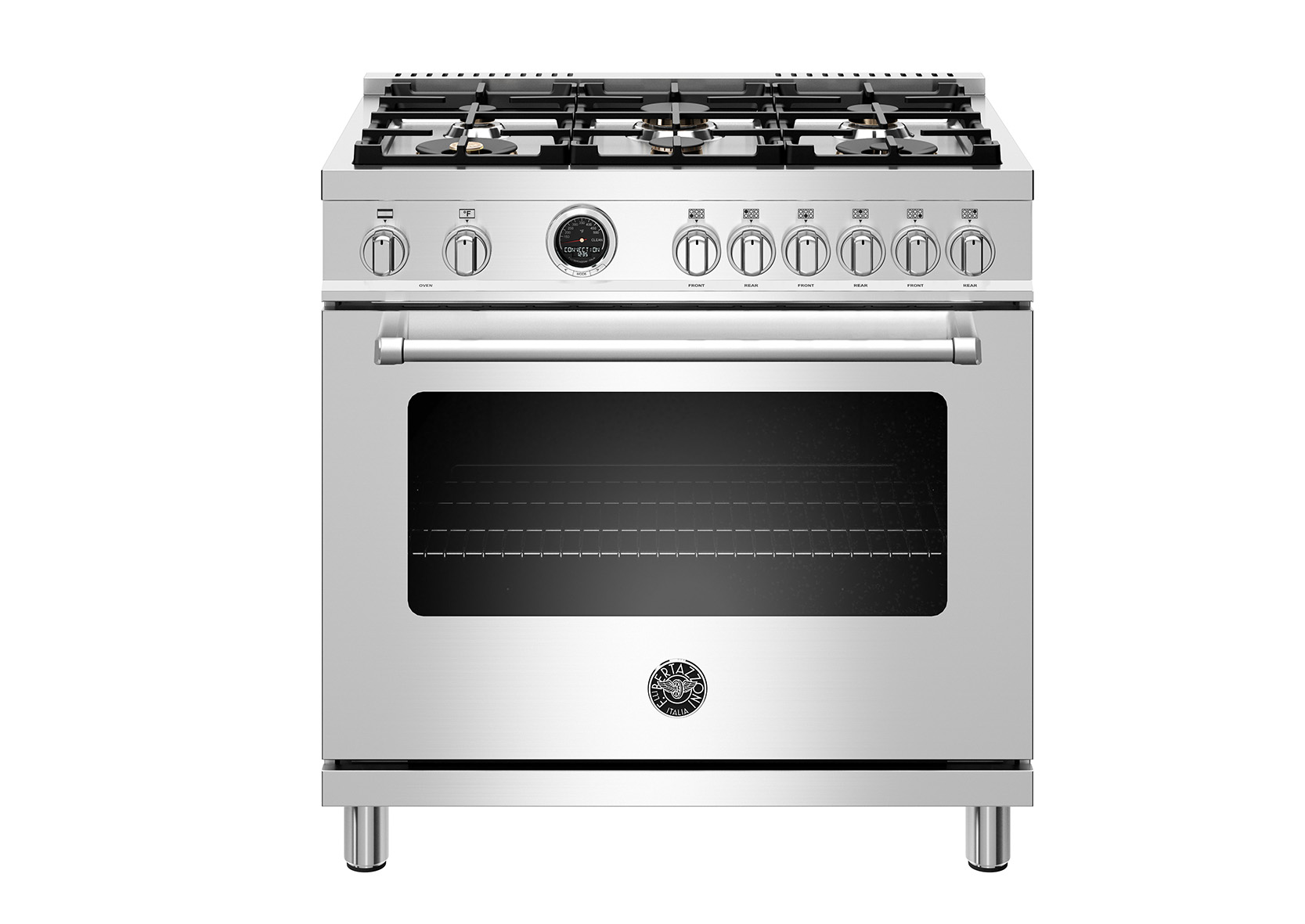 "Bertazzoni 36"" Master Series range - Electric self clean oven - 6 brass burners"