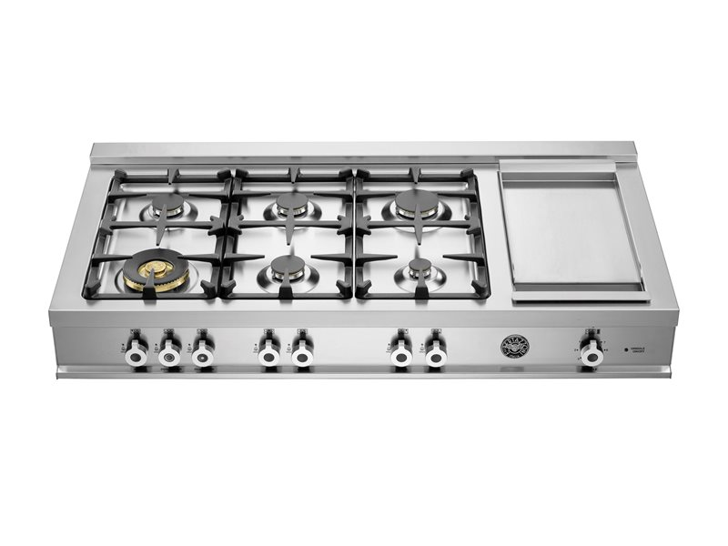 "Model: CB486G00X | Bertazzoni 48"" Rangetop 6 Brass Burners + Griddle"