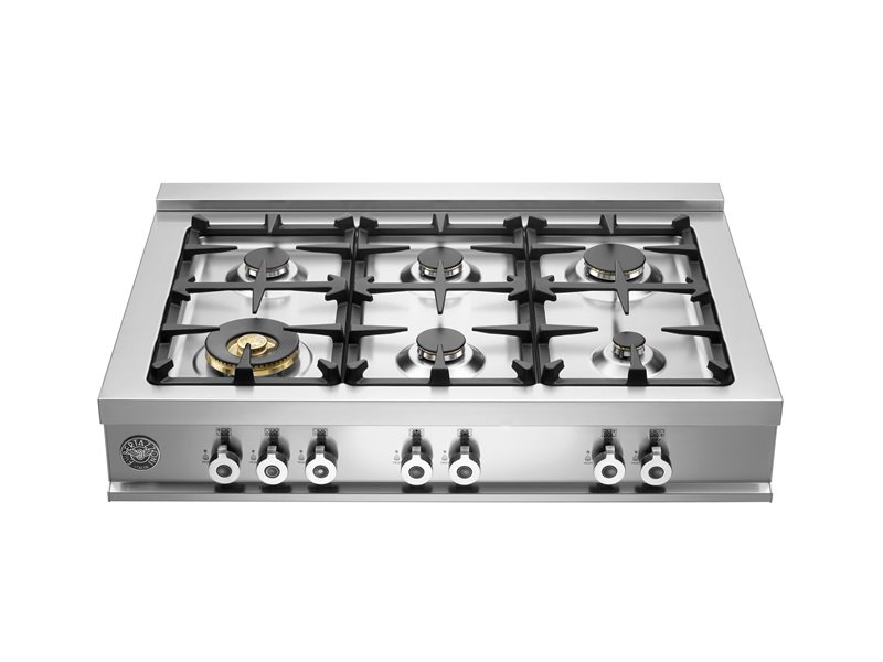 "Bertazzoni 36"" Rangetop 6 Brass Burners"