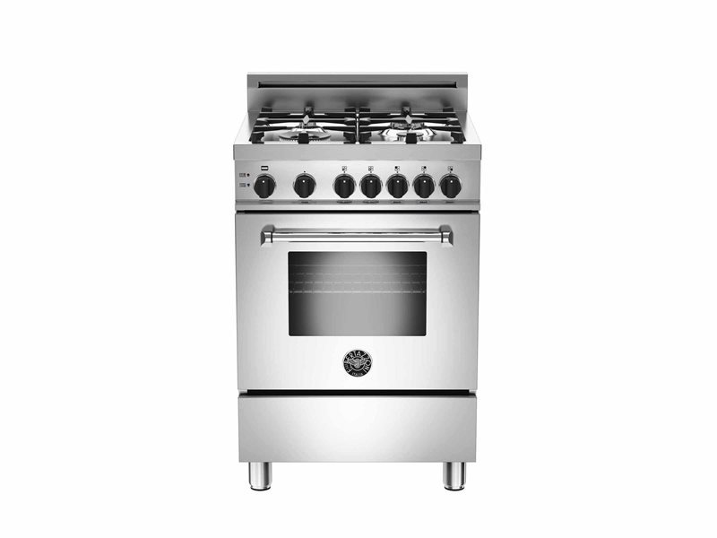 "Bertazzoni 24"" Master Series range 4 aluminum burners Black Knobs All Gas Stainless Steel"