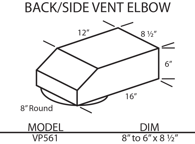 Vent-A-Hood Back/Side Vent Elbow