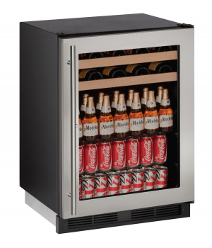 24 inch Beverage Center  Stainless Frame (Lock)
