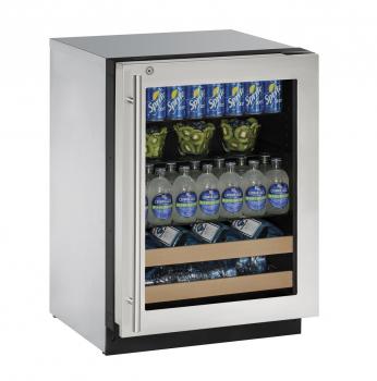24 inch Beverage Center Right-Hand Hinge- Stainless Frame (Lock)