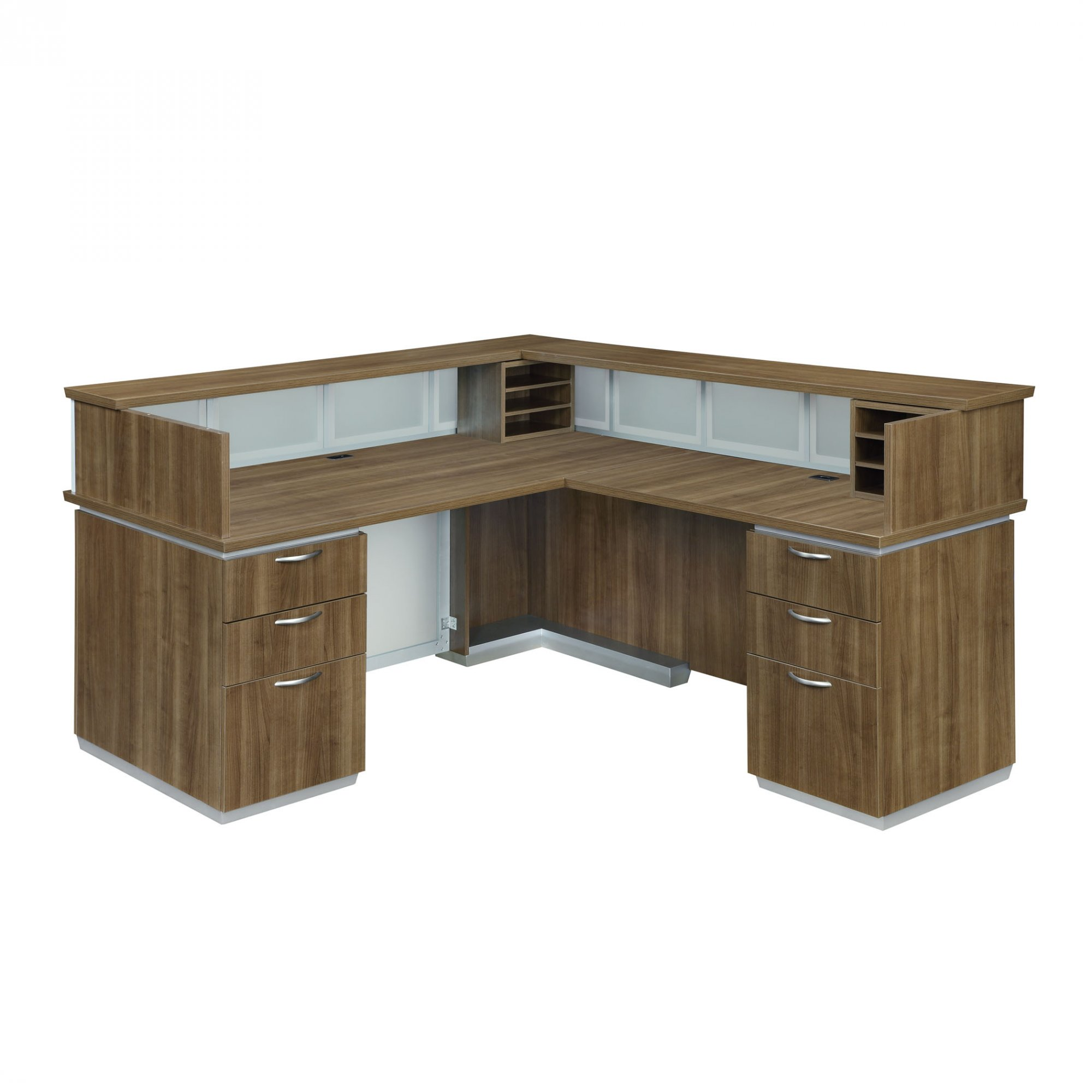 Flexsteel Pimlico  Right Reception L Desk with Frosted Glass Modesty Panel