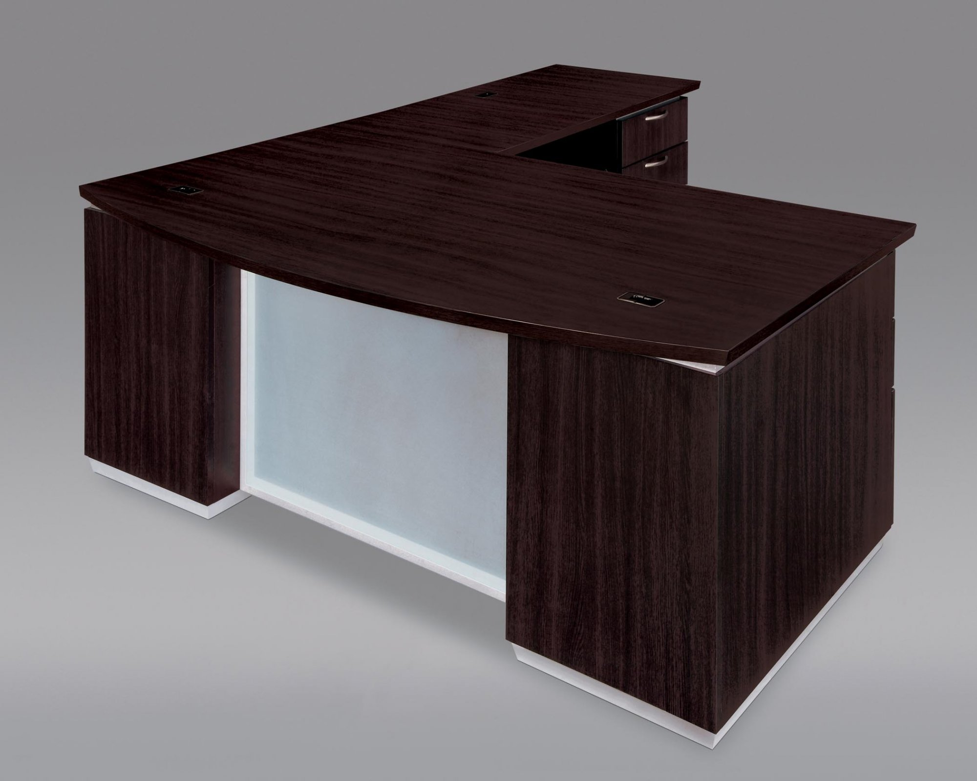 Flexsteel Pimlico  Right Executive Bow Front L Desk with Frosted Glass Modesty Panel