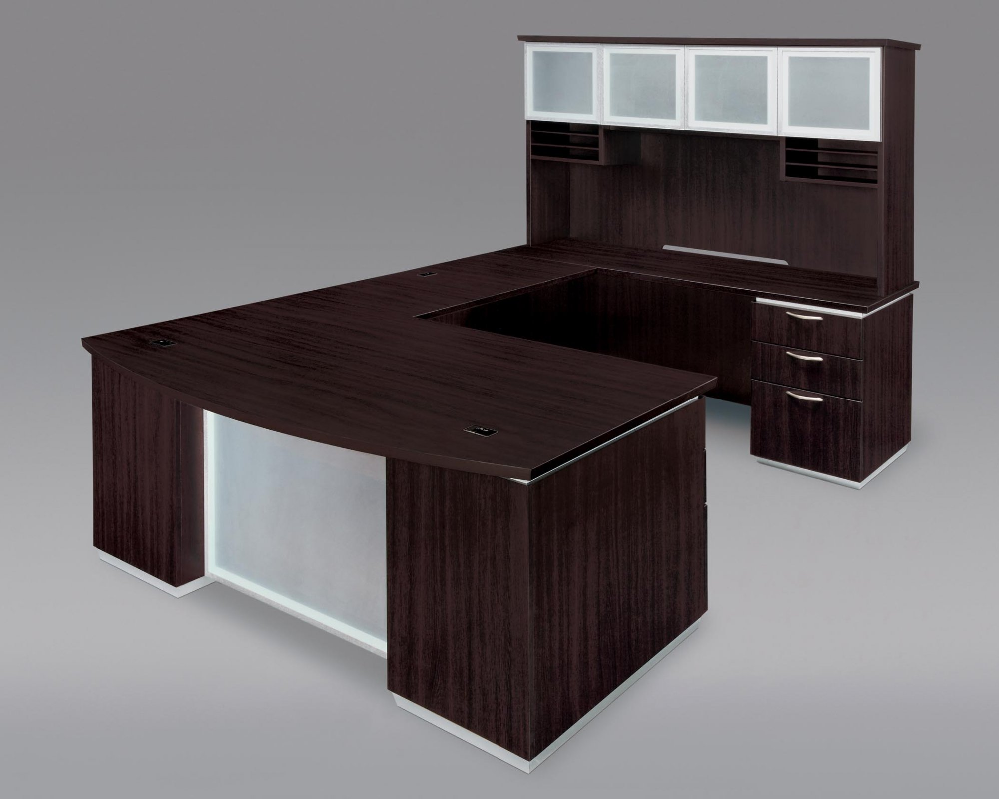Flexsteel Pimlico  Right Executive Bow Front U Desk with Frosted Glass Modesty Panel