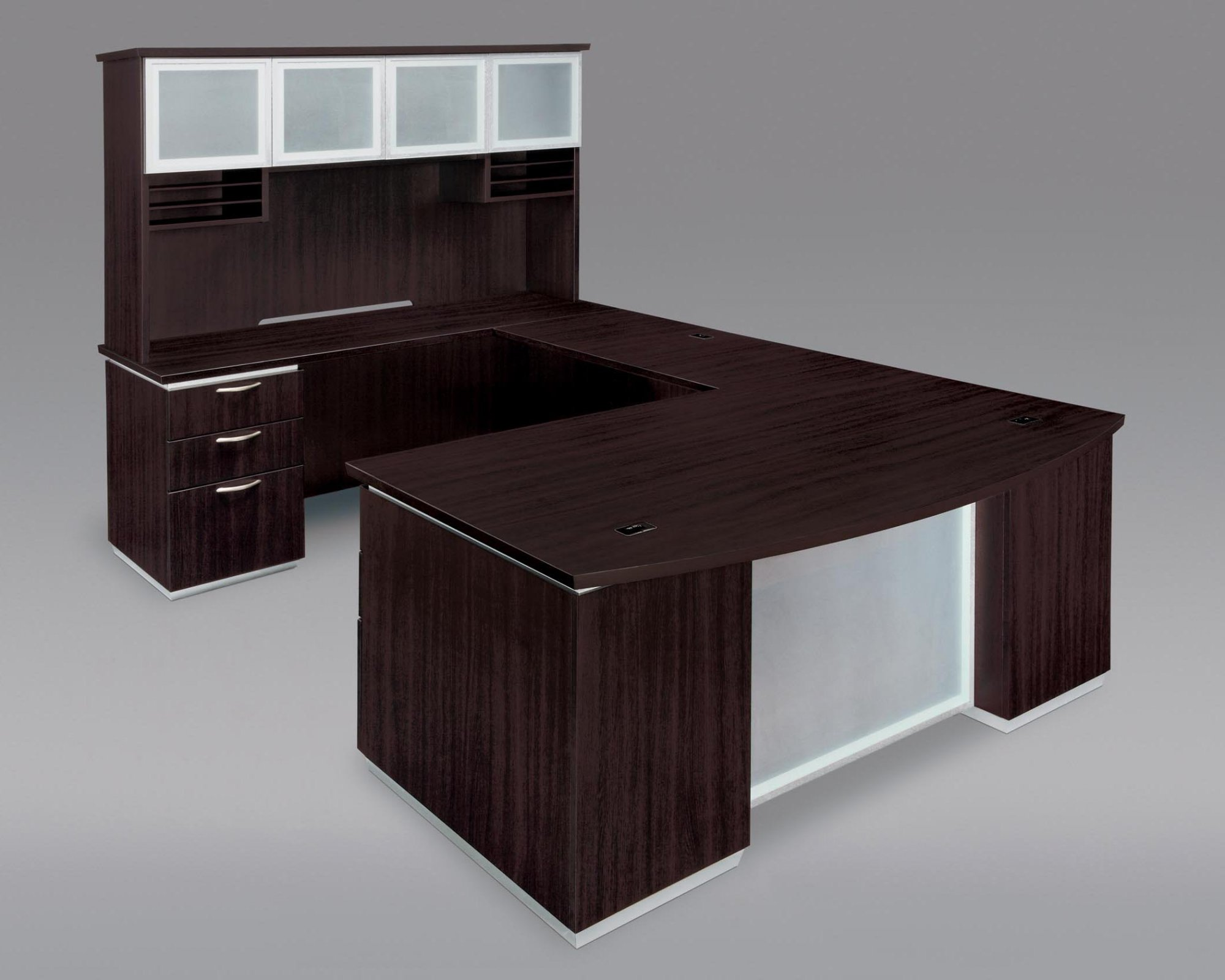 Flexsteel Pimlico  Left Executive Bow Front U Desk with Frosted Glass Modesty Panel