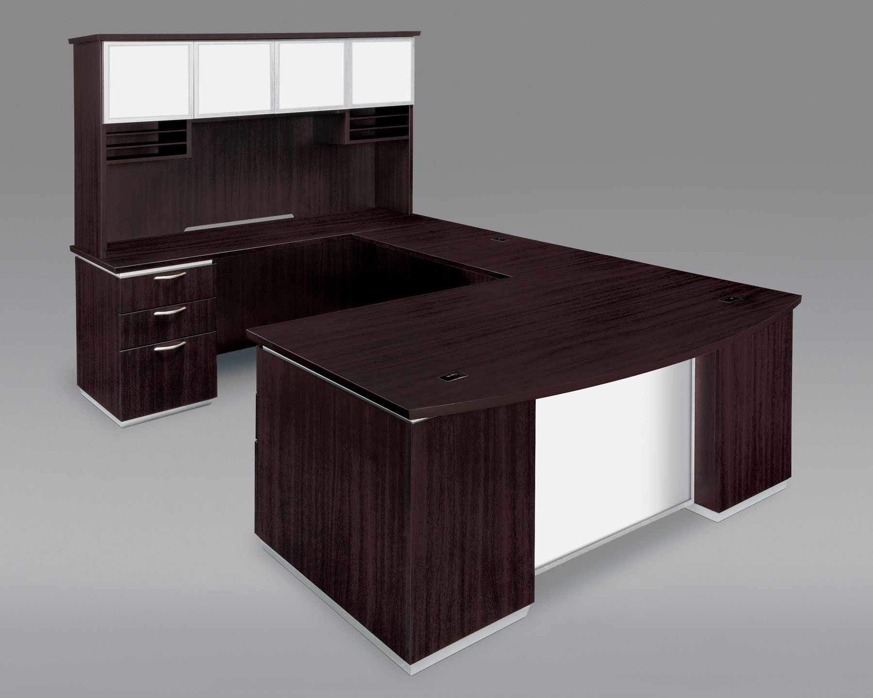 Model: 7020-58BWG | Pimlico  Left Executive Bow Front U Desk with White Glass Modesty Panel