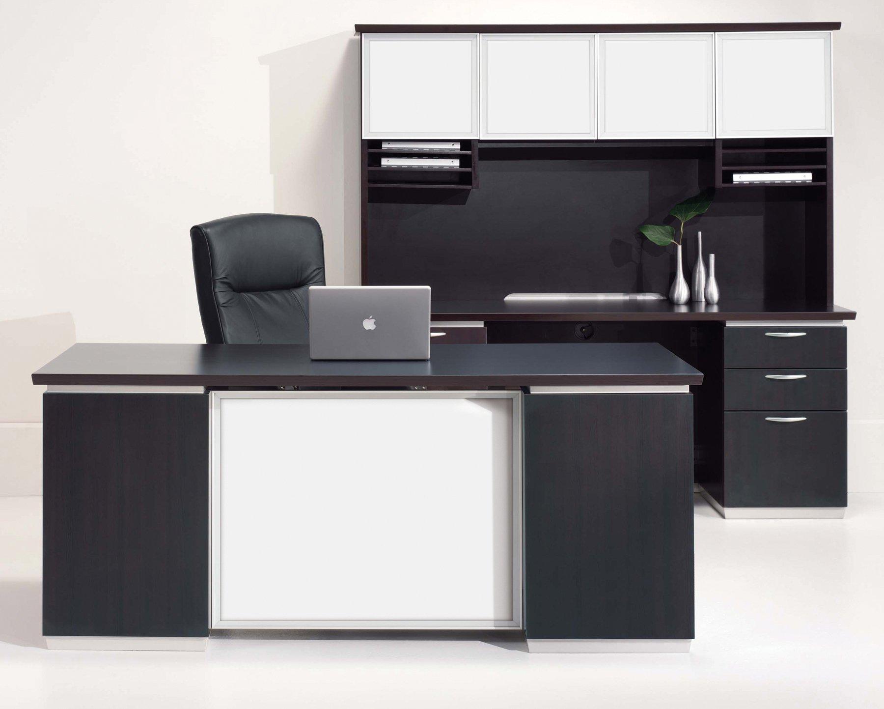 Flexsteel Pimlico  Executive Desk with White Glass Modesty Panel