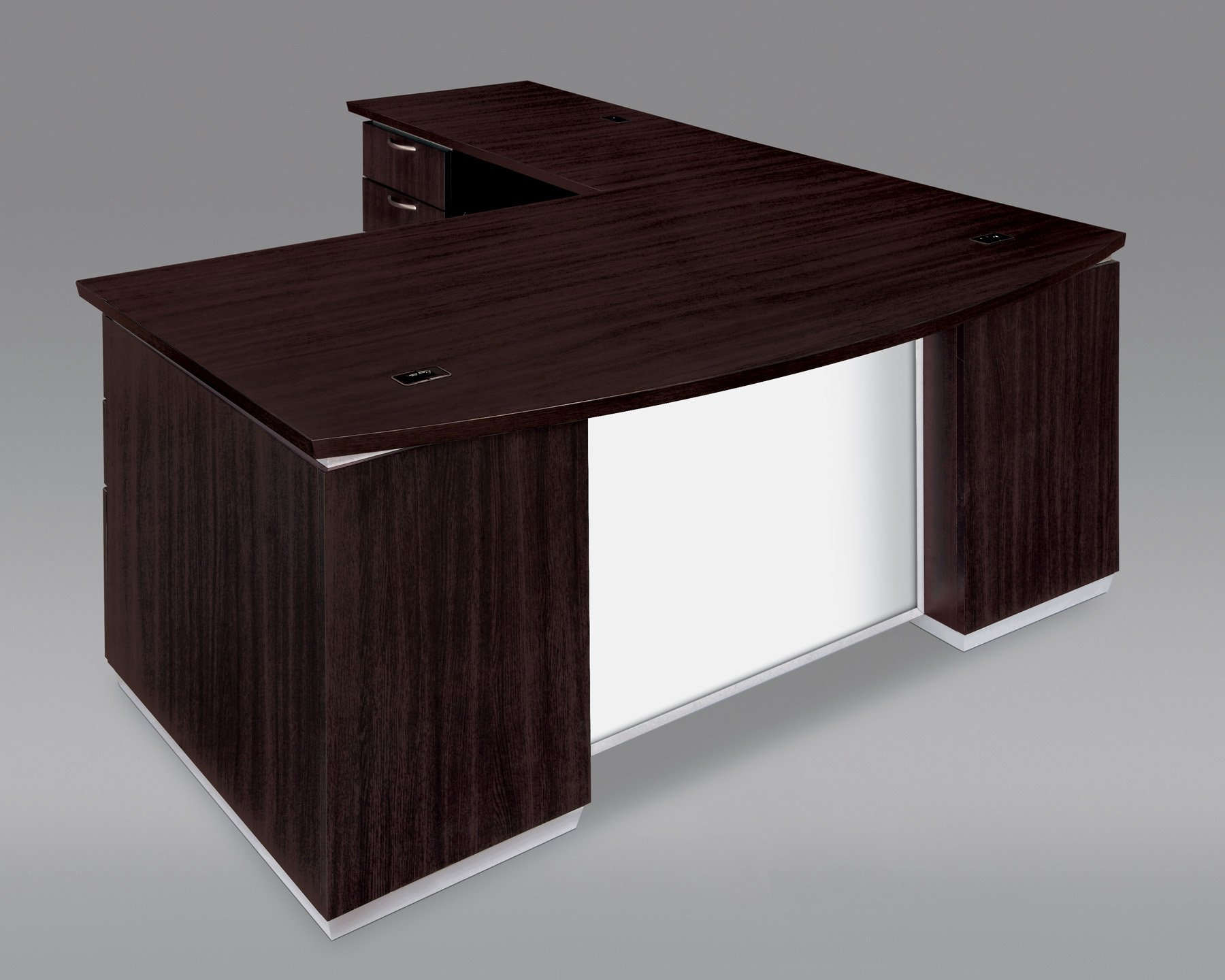 Flexsteel Pimlico  Left Executive Bow Front L Desk with White Glass Modesty Panel