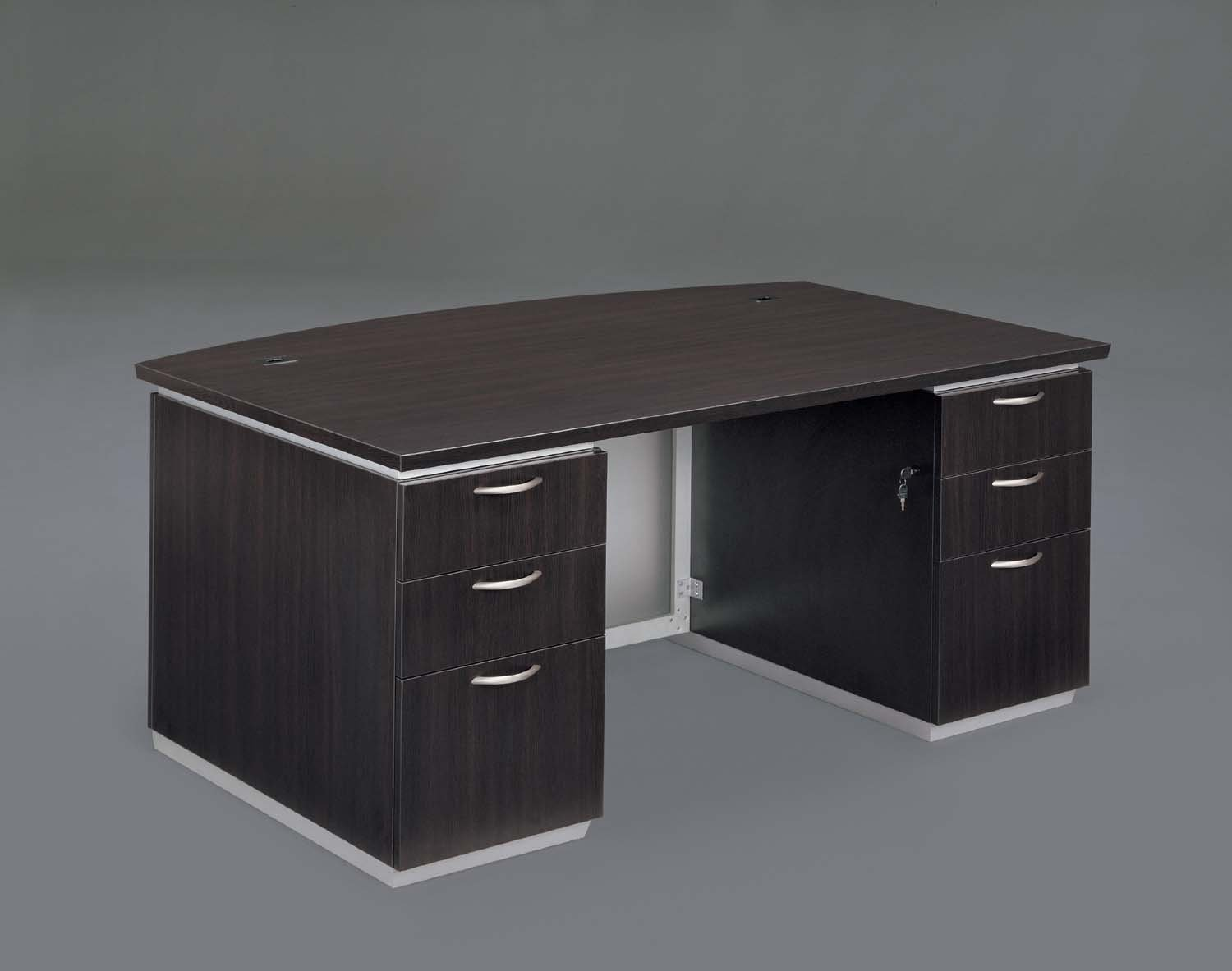Flexsteel Pimlico  Executive Bow Front Desk with Frosted Glass Modesty Panel