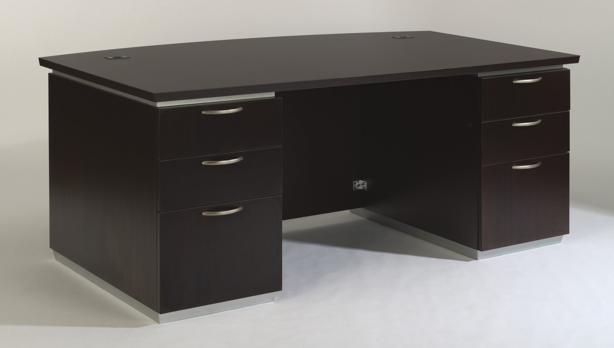 EXECUTIVE BOW FRONT DESK WITH LAMINATE MODESTY PANEL