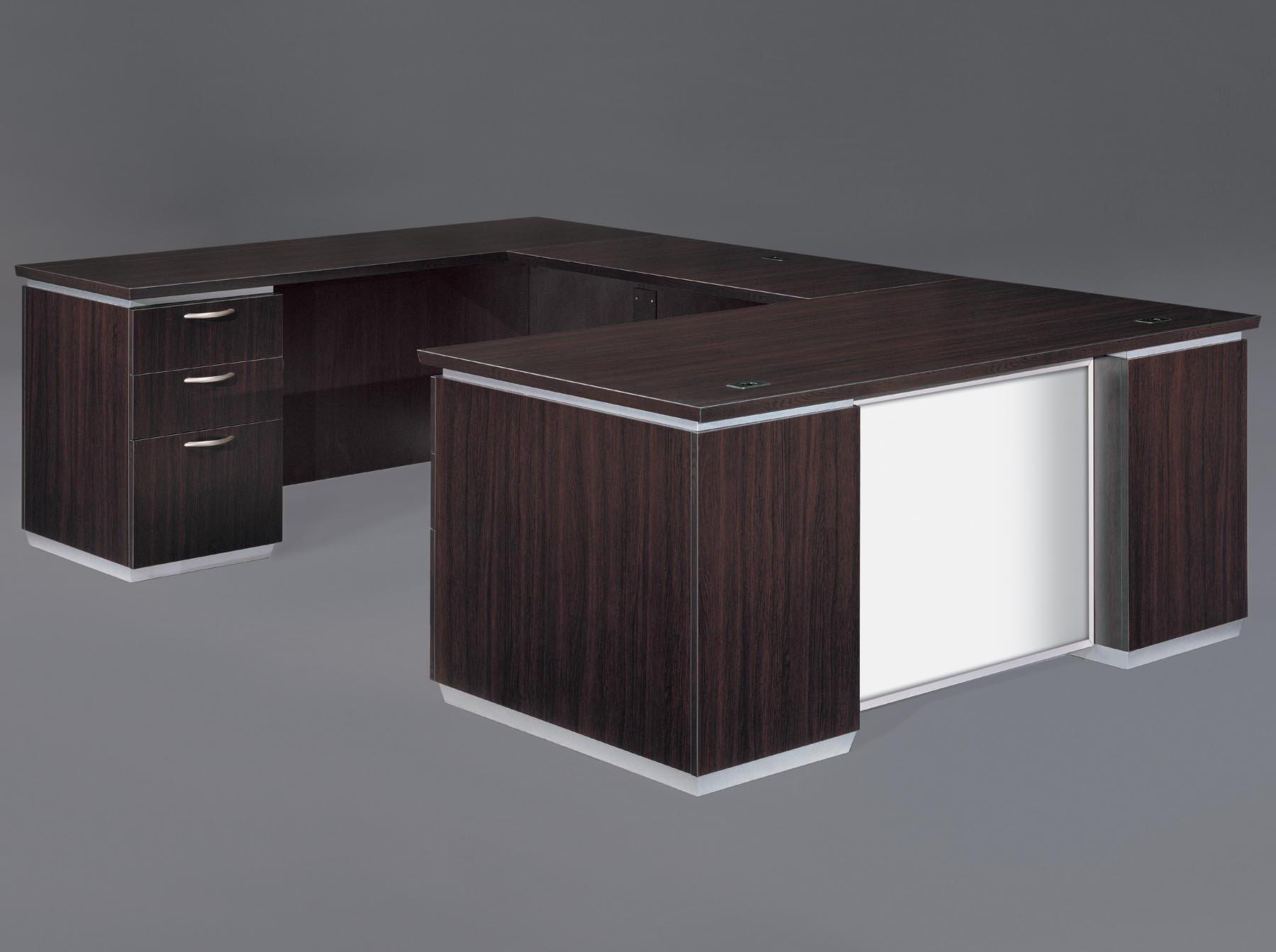 Flexsteel Pimlico  Left Executive U Desk with White Glass Modesty Panel