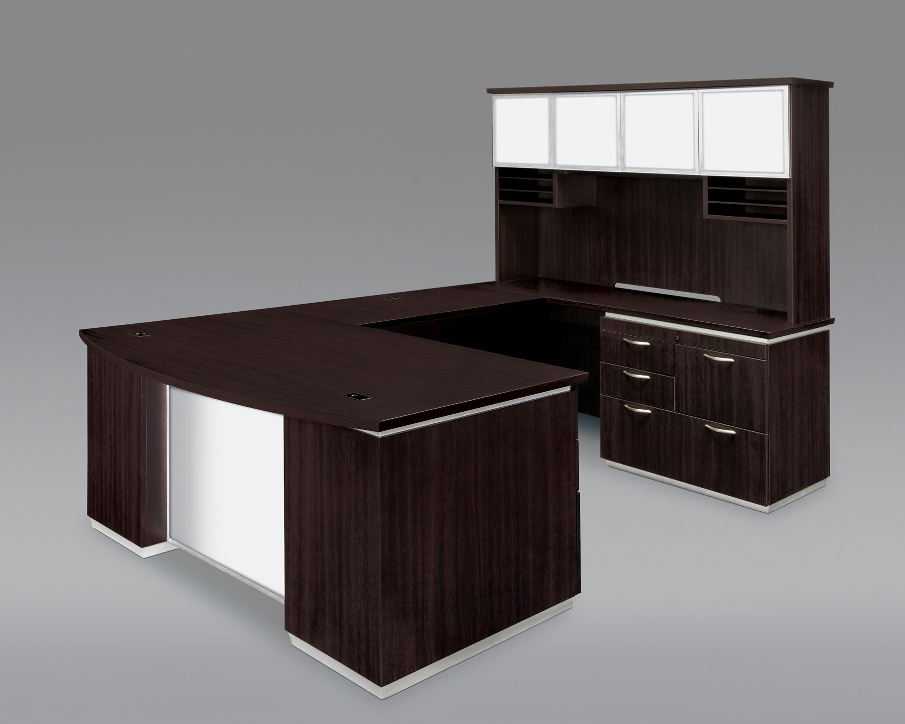 Flexsteel Pimlico  Right Personal File Bow Front U Desk with White Glass Modesty Panel