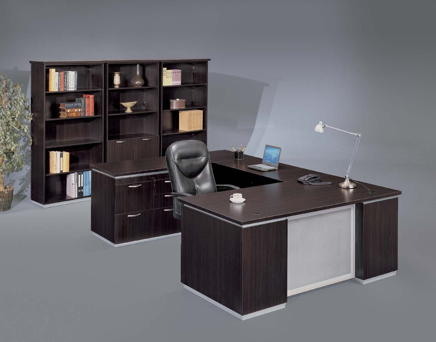 Pimlico  Left Personal File U Desk with Frosted Glass Modesty Panel