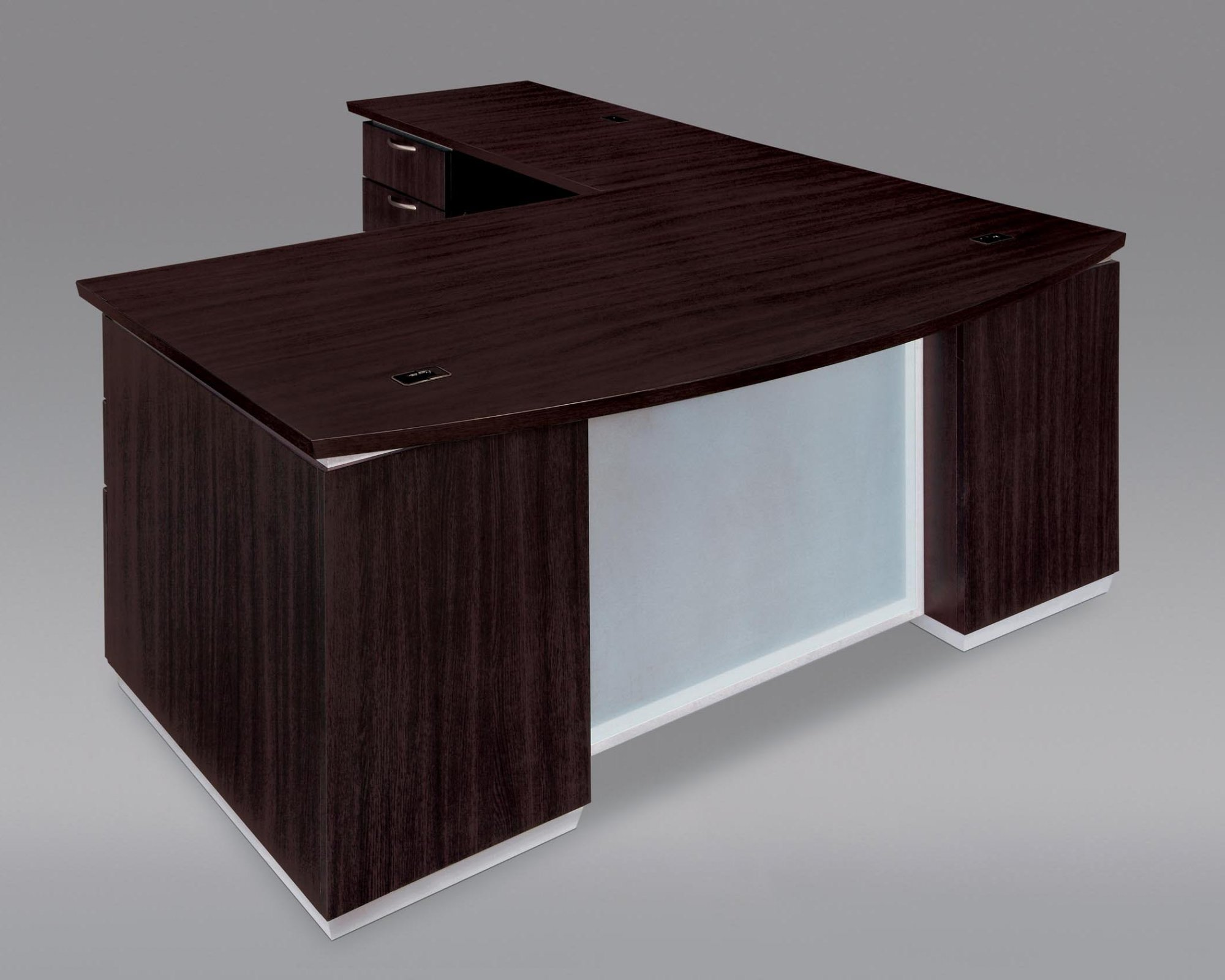 Flexsteel Pimlico  Left Executive Bow Front L Desk with Frosted Glass Modesty Panel
