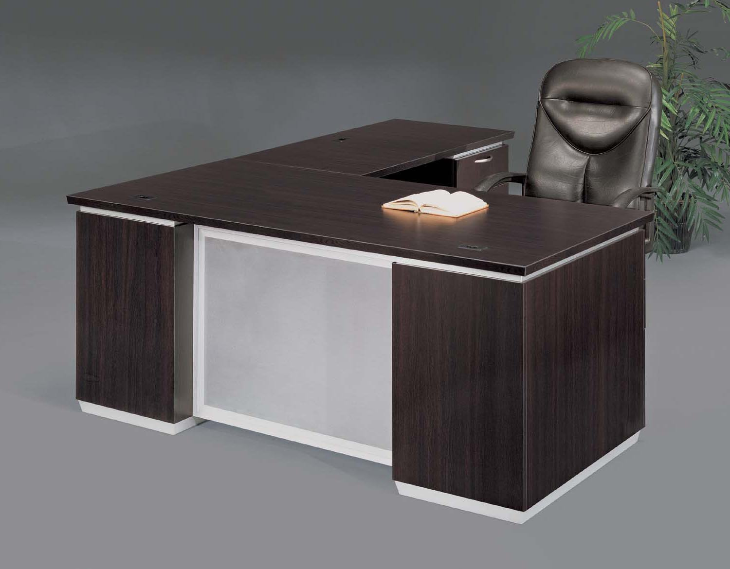 Flexsteel Pimlico  Right Executive L Desk with Frosted Glass Modesty Panel