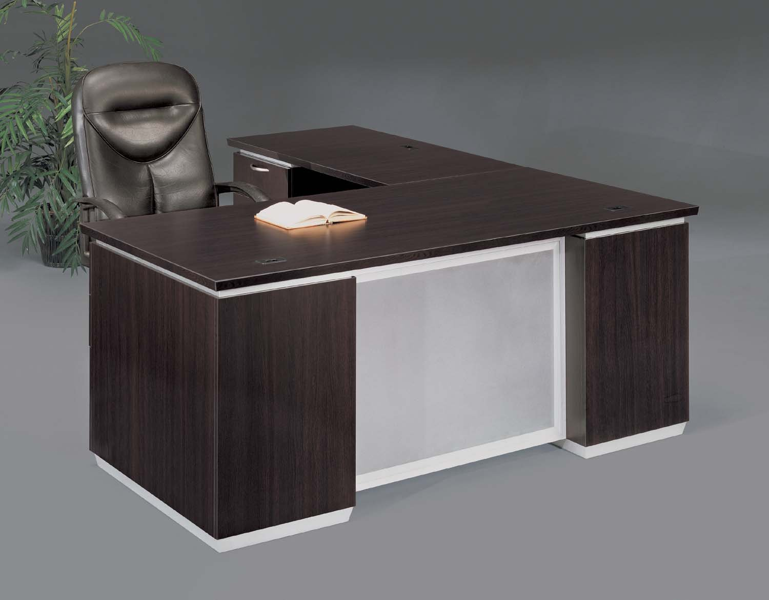 Flexsteel Pimlico  Left Executive L Desk with Frosted Glass Modesty Panel